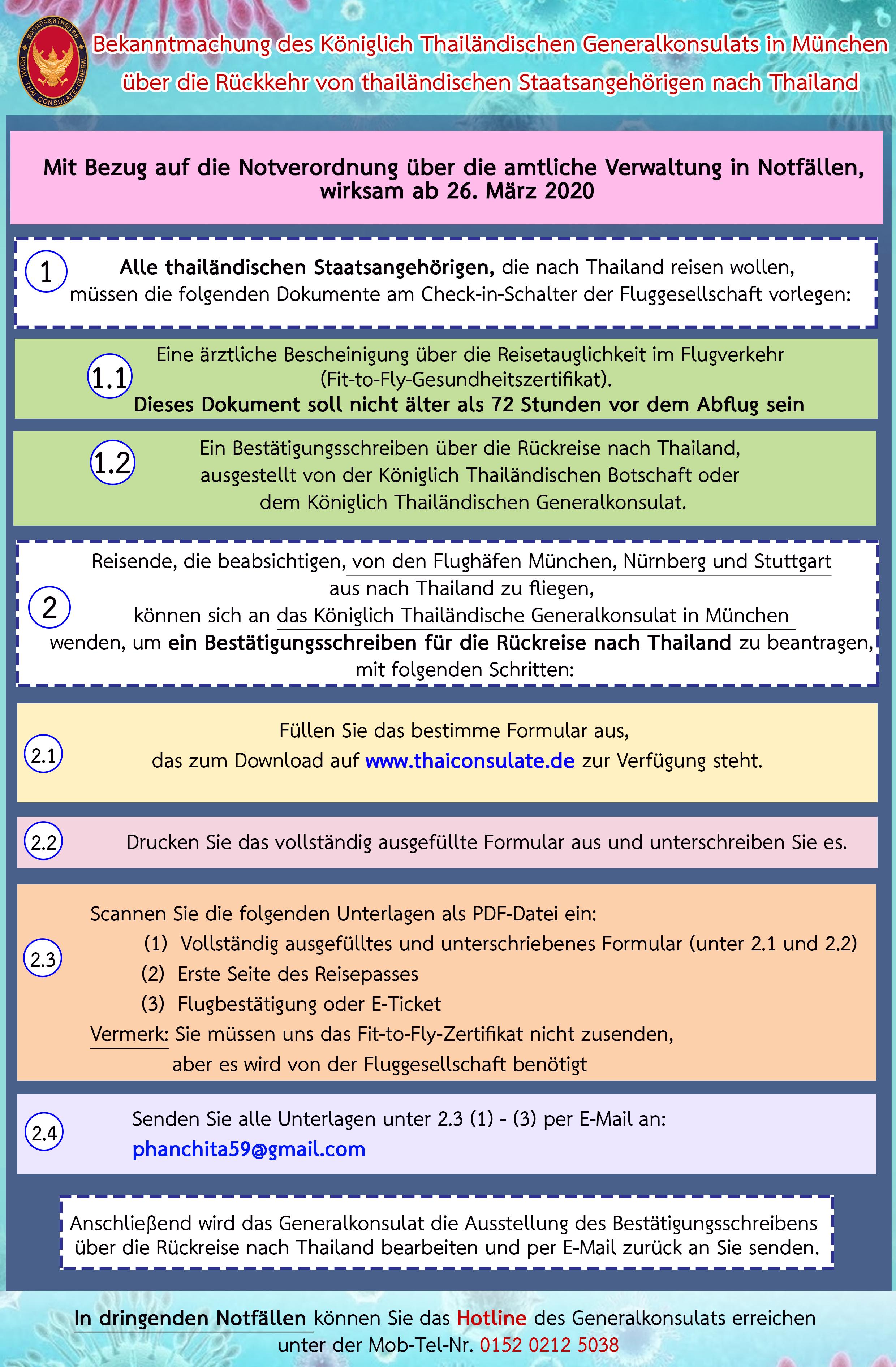 Bekanntmachung des Königlich Thailändischen Generalkonsulats in München  über die Rückkehr von thailändischen Staatsangehörigen nach Thailand –  Königlich Thailändisches Generalkonsulat München